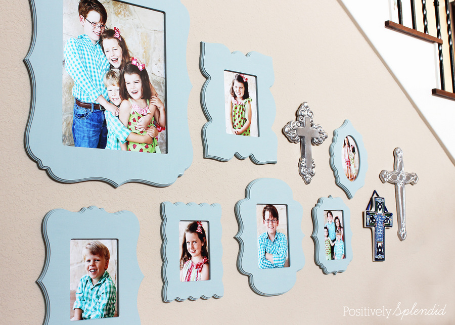 Family portrait wall with Cut It Out Frames, plus some terrific tips for taking great portraits of kids!