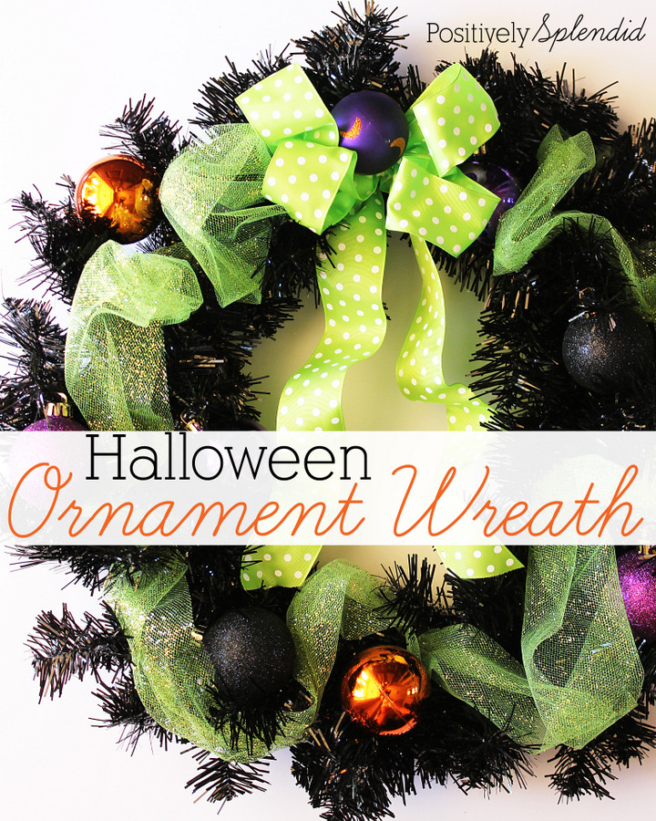 Easy Halloween ornament wreath by Positively Splendid