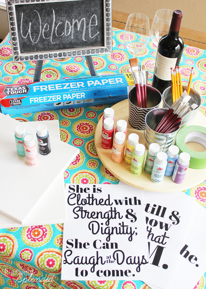Diy lettered canvas sign and at home painting party tips for Hosting a party at home