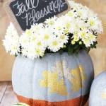 Faux concrete pumpkin planter by Positively Splendid. An easy fall decor craft project. #PlaidCreators