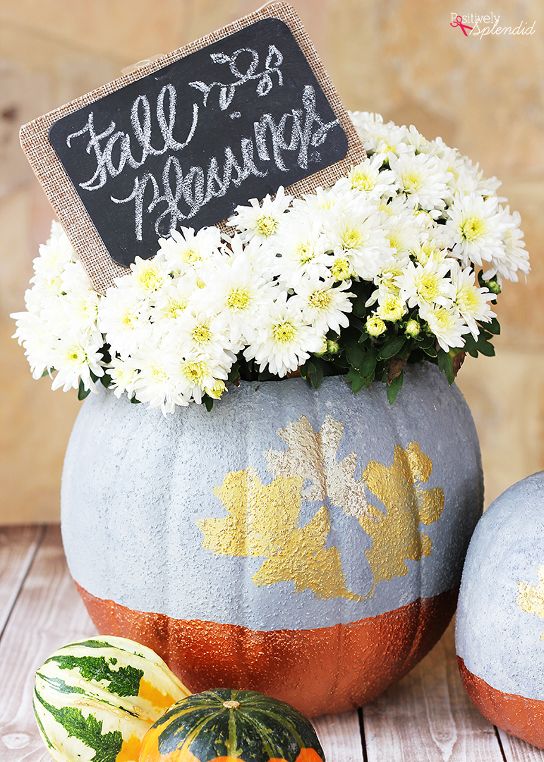 Faux concrete pumpkin planter by Positively Splendid. An easy fall decor craft project. #PlaidCreators