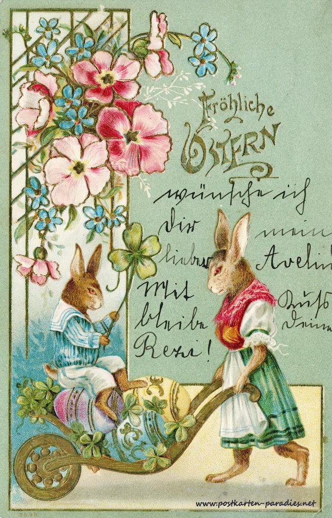 Osterkarte Osterhase Jugendstil