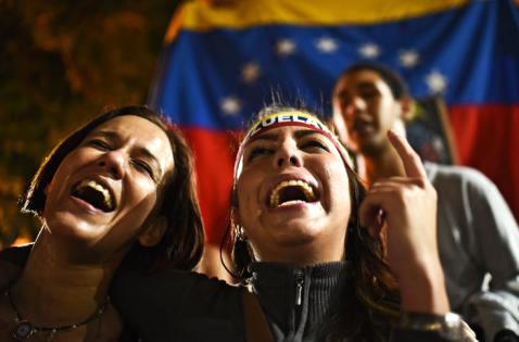 Pro-freedom Venezuelans celebrate their electoral victory.
