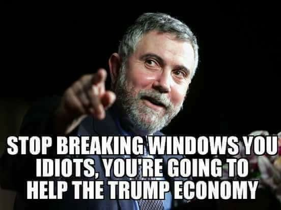 Paul Krugman telling anti-Trump rioters to stop breaking windows or they will help the Trump economy