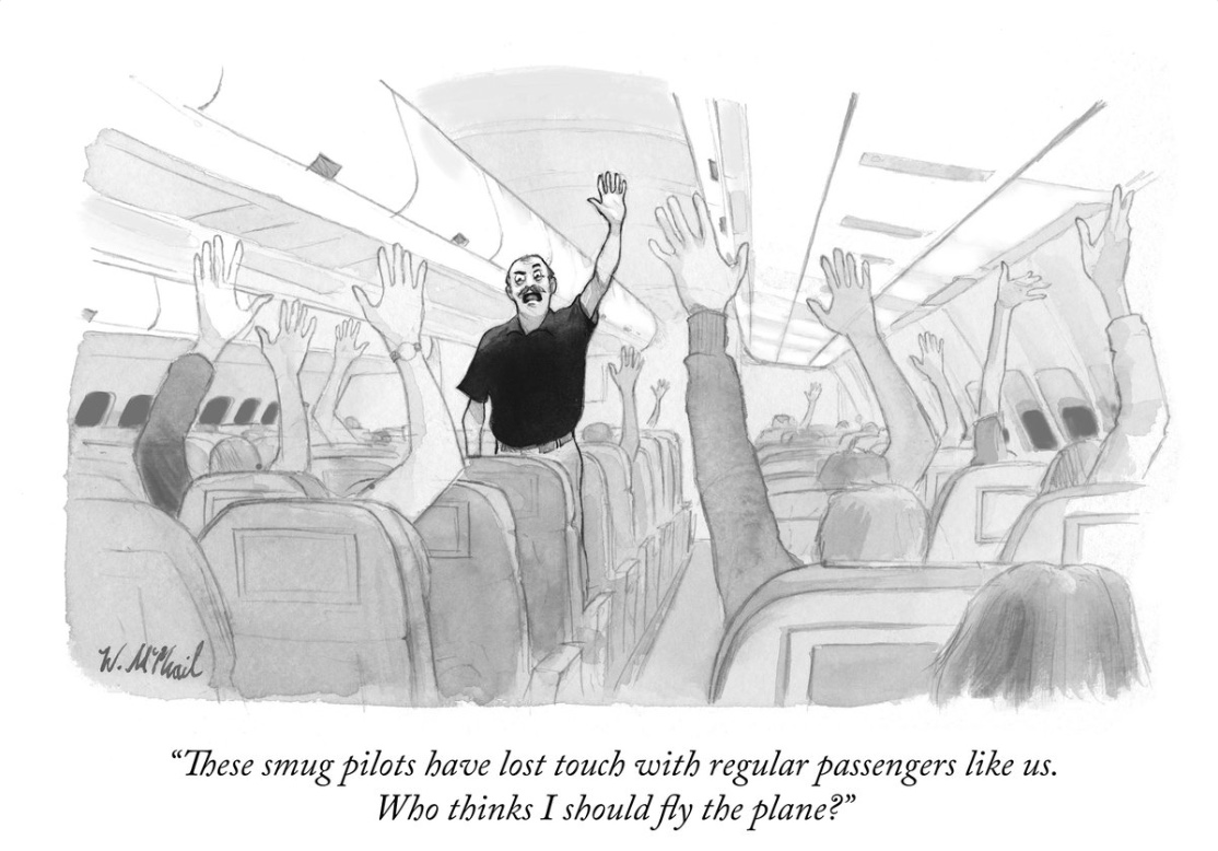 Political Cartoon, Smug pilots, Trump, Liberals