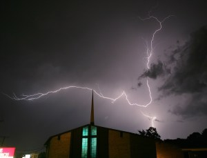 A 2011 photo of lightning over the Heritage Baptist Church in Tyler, Texas (AP Photo/Dr. Scott M. Lieberman)
