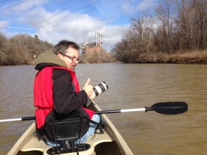 AP photographer Gerry Broome on the Dan River. (Photo by Michael Biesecker)