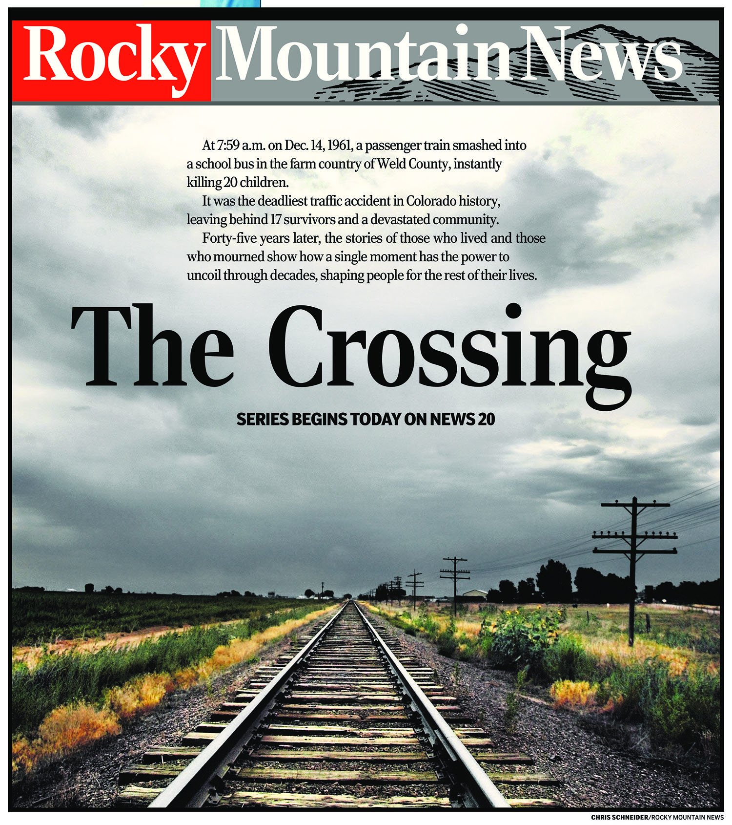 "The cover of the first chapter of Rocky Mountain News' ""The Crossing."""