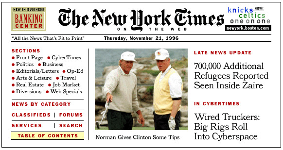NYTimes.com on Nov. 21, 1996. The site officially launched that January. (Image from A History of NYTimes.com)