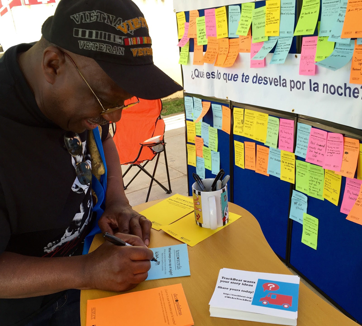 A Vietnam veteran fills out a Tenn Words post-it with a response to the question: What keeps you up at night? (Courtesy of Powell)