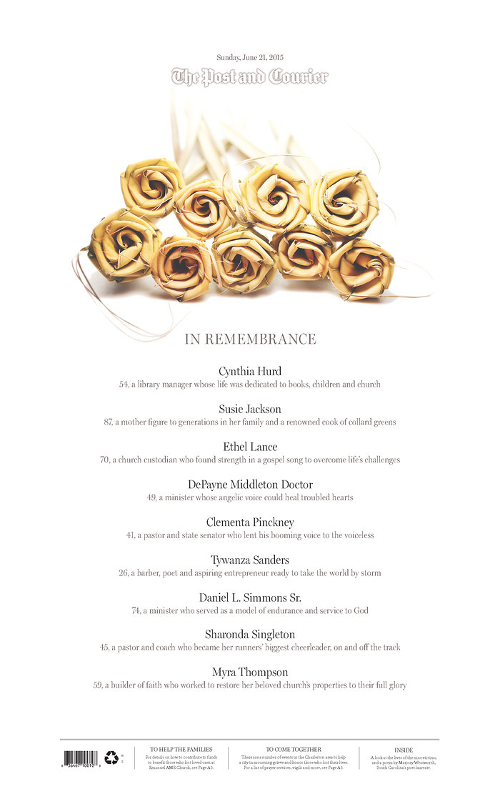 On the Sunday after the Charleston AME shooting, The Post and Courier led with a front-page memorial for the nine victims.