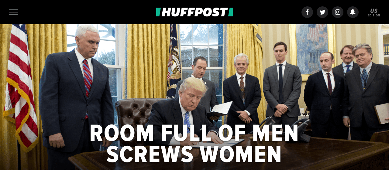 An example of the HuffPost splash. (Photo courtesy HuffPost)
