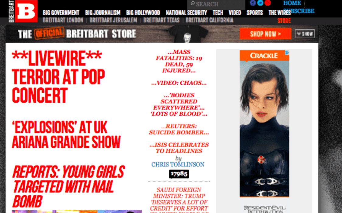 Screenshot, Breitbart.com