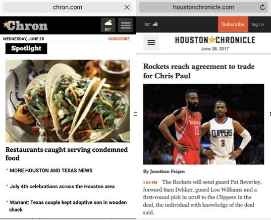 The mobile sites of Chron.com left, and HoustonChronicle.com, right, at the same time on Wednesday, June 28, 2017.