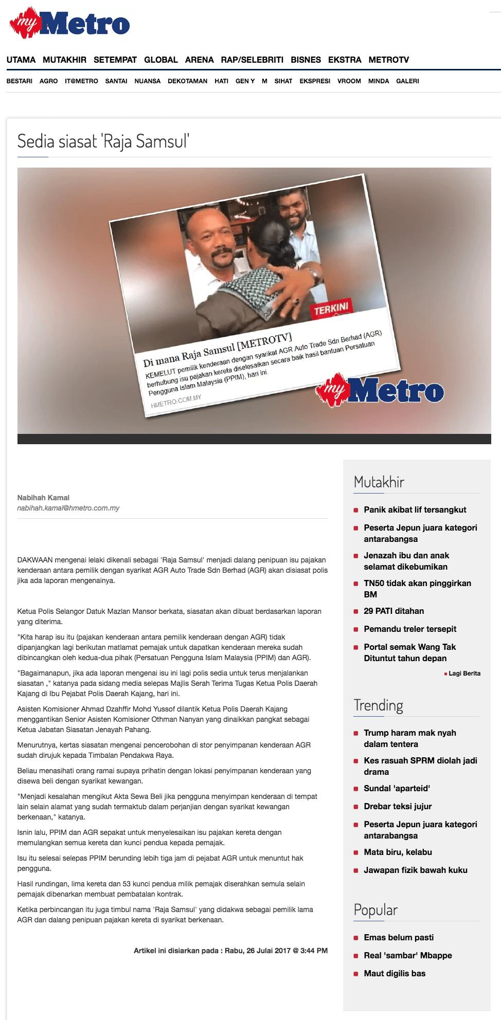 Sedia siasat  Raja Samsul    Harian Metro