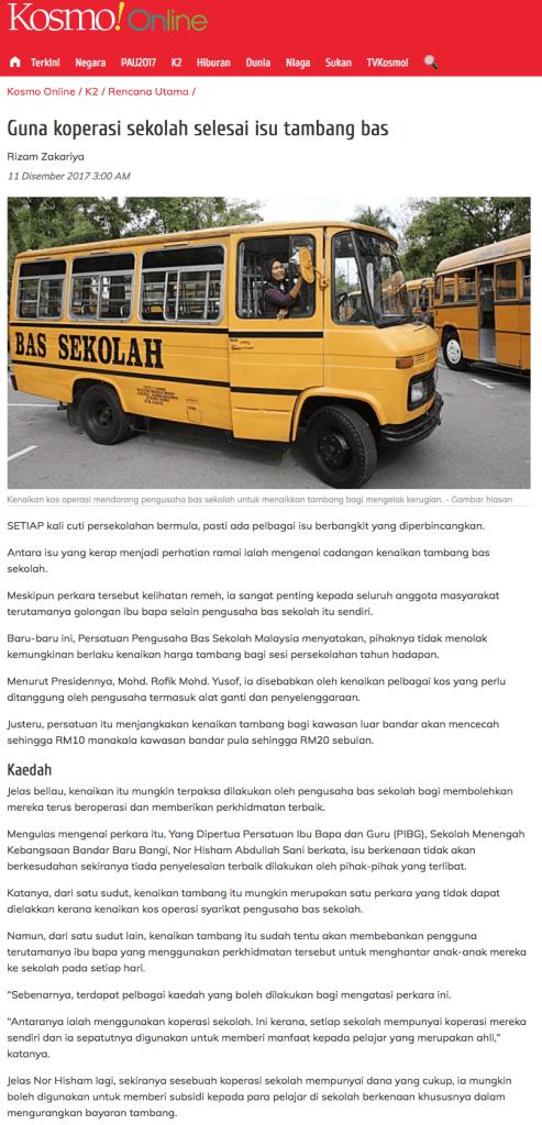 1 Guna koperasi sekolah selesai isu tambang bas   Rencana Utama   Kosmo Online