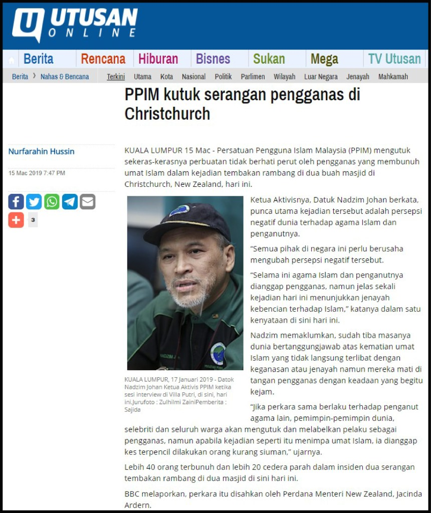 Utusan ( PPIM kutuk serangan pengganas di NZ ) 15.3.19-01