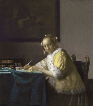 old painting of a woman writing to illustrate and article about hand writing
