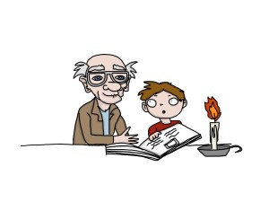 cartoon drawing of an old man reading to his grandson - illustrating an article about writing for children