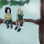 painting of two little girls sitting on a tree branch illustrating an article about how to write for children
