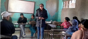 Sarita Lamichhane, president of prayatna, talking at a program