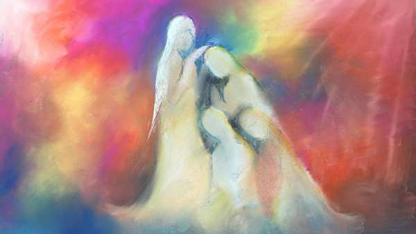 The adoration of the risen Christ, a pastel painting by Julie Palmer.