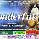 February 2013 Prayer Points RCCG – By Pastor E. A. Adeboye