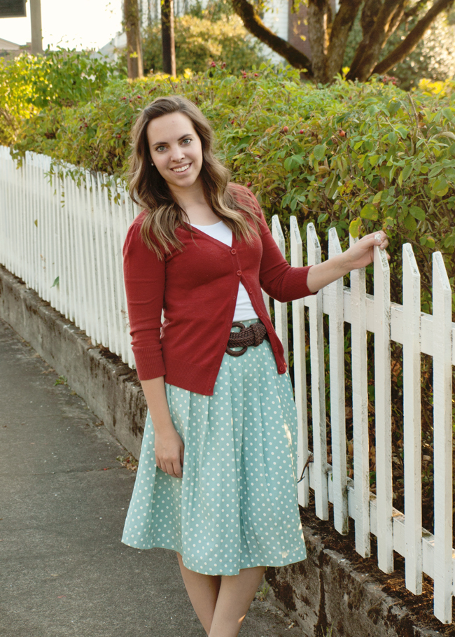 Polka Dot Pleated Skirt Refashion