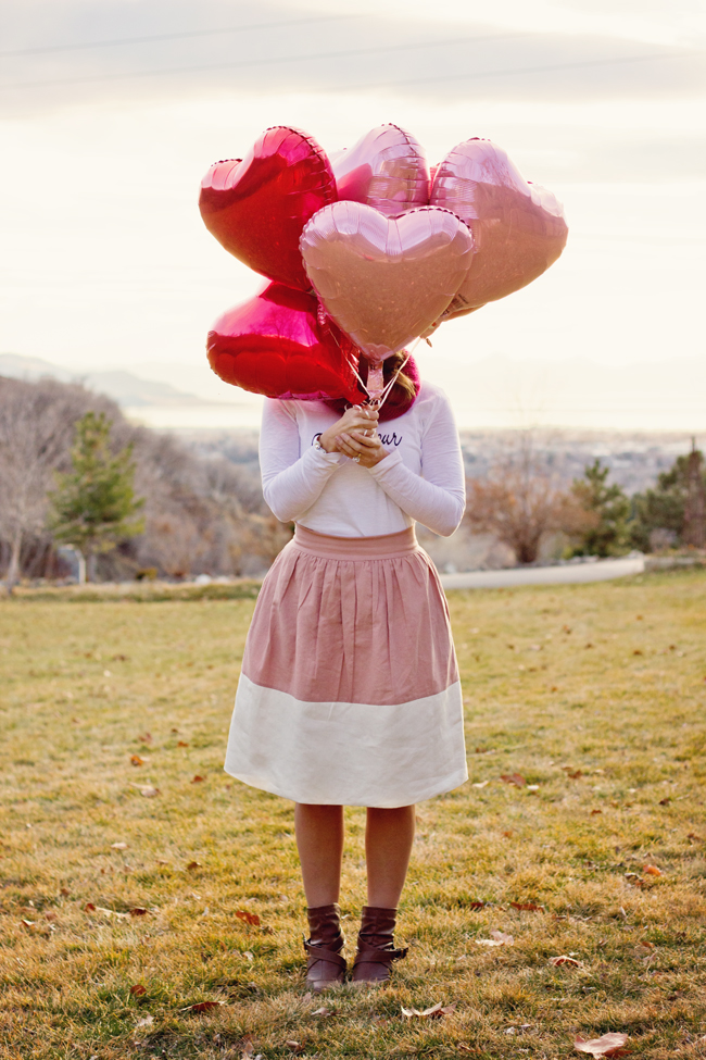 DIY Graphic Tee | Valentine's Day Inspired | Color Block Party Skirt