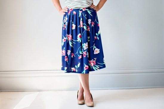 Navy Pink Floral Print Midi Skirt