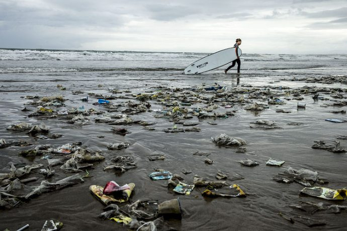 Plastic Pollution on Kuta Beach; Bali