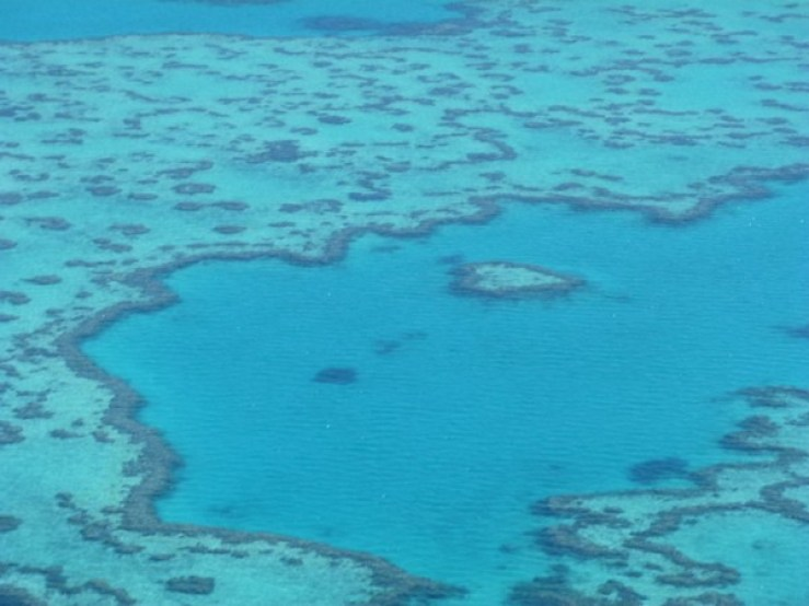 coração da barreira de corais na Austrália