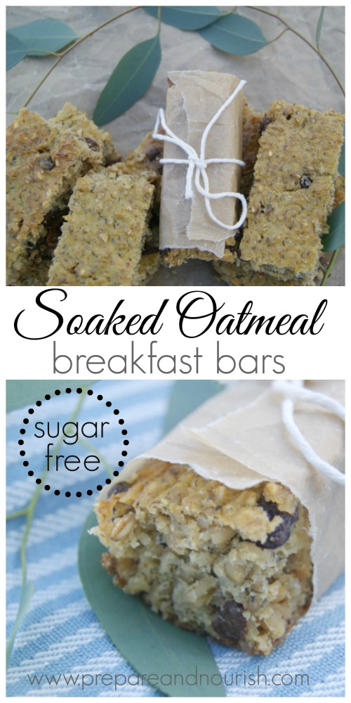 Soaked Oatmeal Breakfast Bars - sugar free! Lightly sweetened with overripe bananas and a touch of plump raisins is all that's needed to get you going. Soaked grains for optimal digestion and nutrient absorption.
