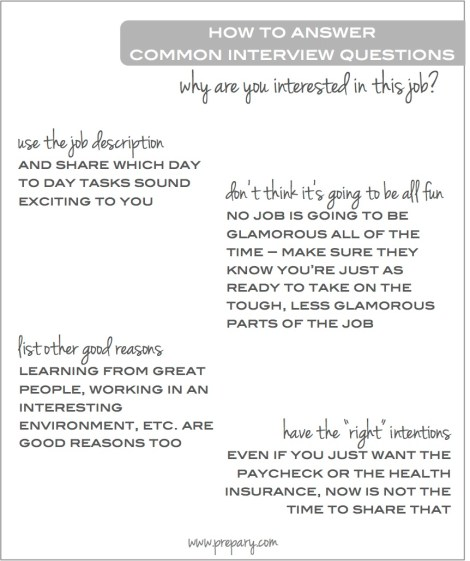 common interview questions - why are you interested in this job