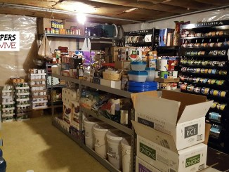 Prepper picture of food storage pantries