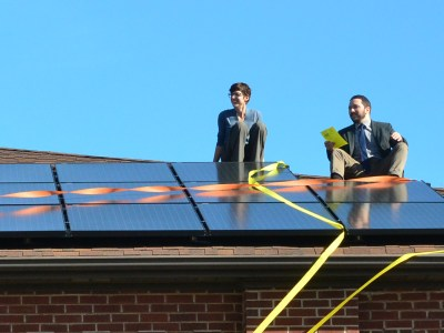 First Presbyterian Church of Jeffersonville, Indiana celebrates the installation of solar panels. (Photo courtesy First Presbyterian Church)