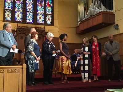The Rev. Terilyn Lawson is installed by Glacier Presbytery, October 23, 2016. (Photo by Vera White)