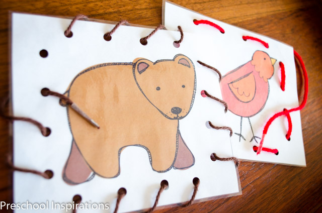 Practice fine motor skills with these adorable Brown Bear lacing cards busy bag printables.