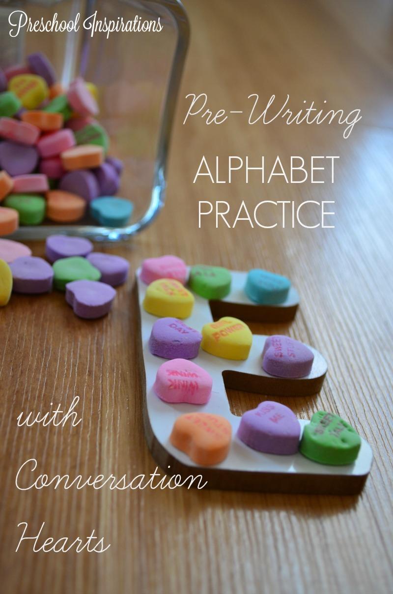 Teach children to write with conversation hearts