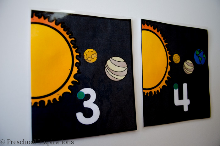 Space Themed Number Writing Practice by Preschool Inspirations