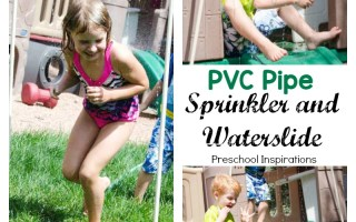 Make a DIY PVC pipe sprinkler and waterslide for lots of outdoor fun!
