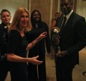 Dennis Haysbert with IPA President Mirjana Van Blaricom 