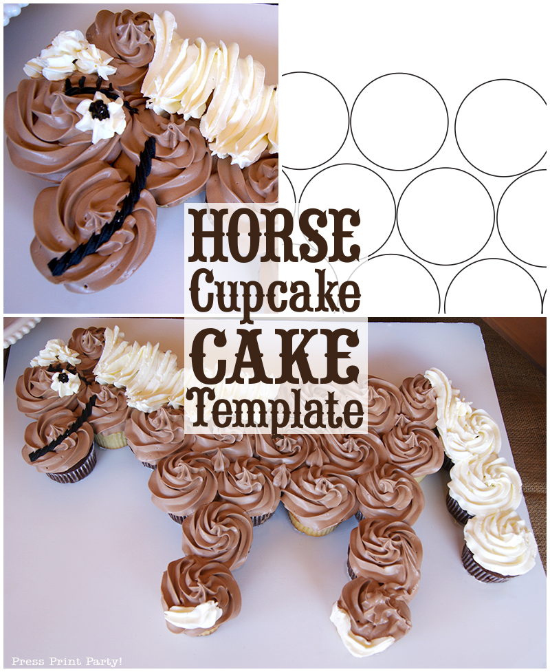 Horse Cupcake Cake How To - With Template