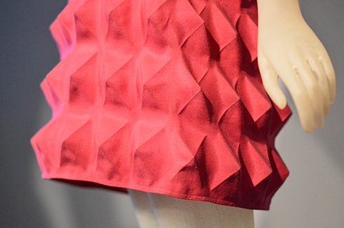detail of Pierre Cardin dynel fabric dress at FIT.