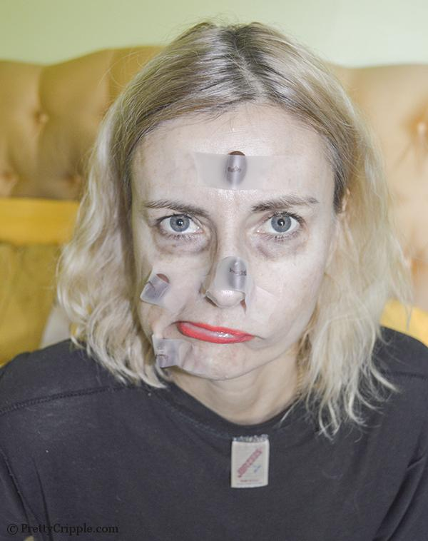 homely woman with fake moles replicated from chocolate whoppers
