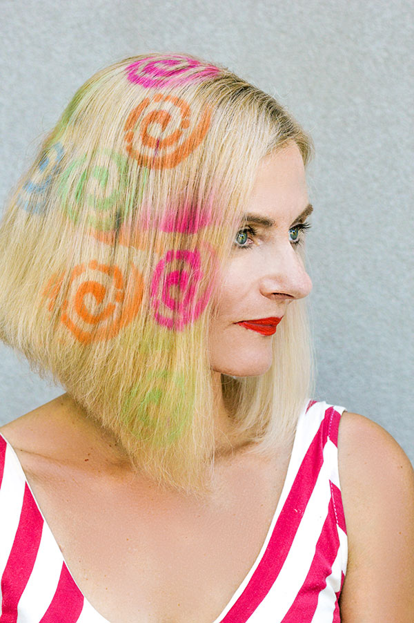 swirl hair stencil temporary hair color from party city