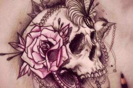 flower skull tattoo designs
