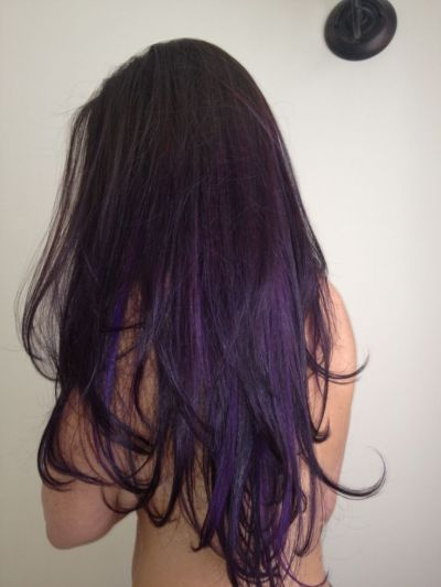 Long Purple Ombre Hairstyle