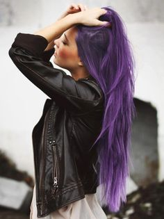 Long Straight Purple Hairstyle