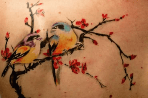 Bird and Cherry Blossom Tattoo